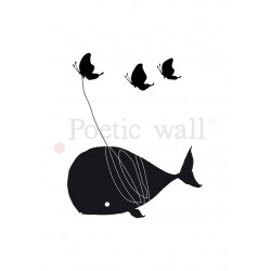 "Stickers ""Baleine volante"" par Poetic Wall"