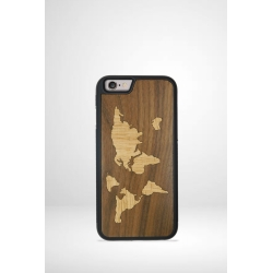 Coque téléphone en bois mappemonde