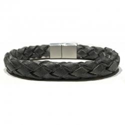 Bracelet tressage fin cuir noir