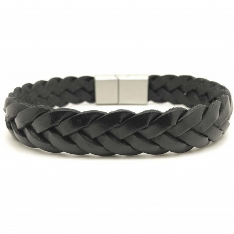 Bracelet tressé brut cuir noir