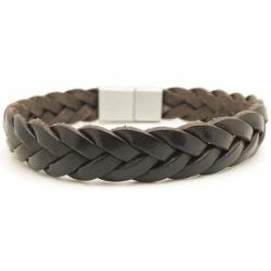 Bracelet tressé brut cuir marron