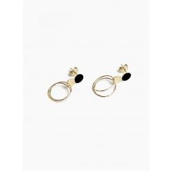 boucles d'oreilles puces anneaux Victor noir par Judith Benita