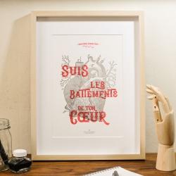 Affiche suis les battements de ton coeur par Atelier Letter Press