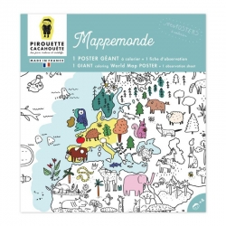Poster à colorier  géant Mappemonde par Pirouette et Cacahouète