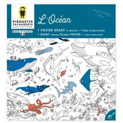 Poster à colorier  géant l'océan par Pirouette et Cacahouète